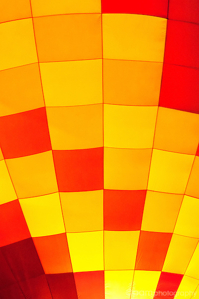 red and yellow close-up of hot air balloon