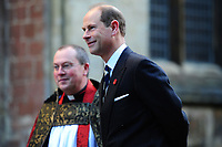 Pictured: Prince Edward (right), Earl of Wessex arrives at Llandaff Cathedral, Cardiff, Wales, UK.  Sunday 11 November 2018<br /> Re: Commemoration for the 100 years since the end of the First World War on Remembrance Day at the Llandaff Cathedral, in Llandaff, Cardiff, Wales, UK.