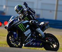 Josh Hayes (1) waves to fans after the AMA SuperBike motorcycle race at Daytona International Speedway, Daytona Beach, FL, March 2011.(Photo by Brian Cleary/www.bcpix.com)