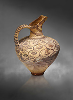 "Minoan decorated jug  with stylised floral design , Konssos  'Unexplored Mansion"" 1450-1370 BC; 1400-1250 BC; Heraklion Archaeological  Museum, grey background"
