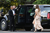 First Lady Melania Trump exits the residence to attend a reception at the Ford's Theatre , on June 4, 2017 in Washington, DC. <br /> Credit: Olivier Douliery / Pool via CNP