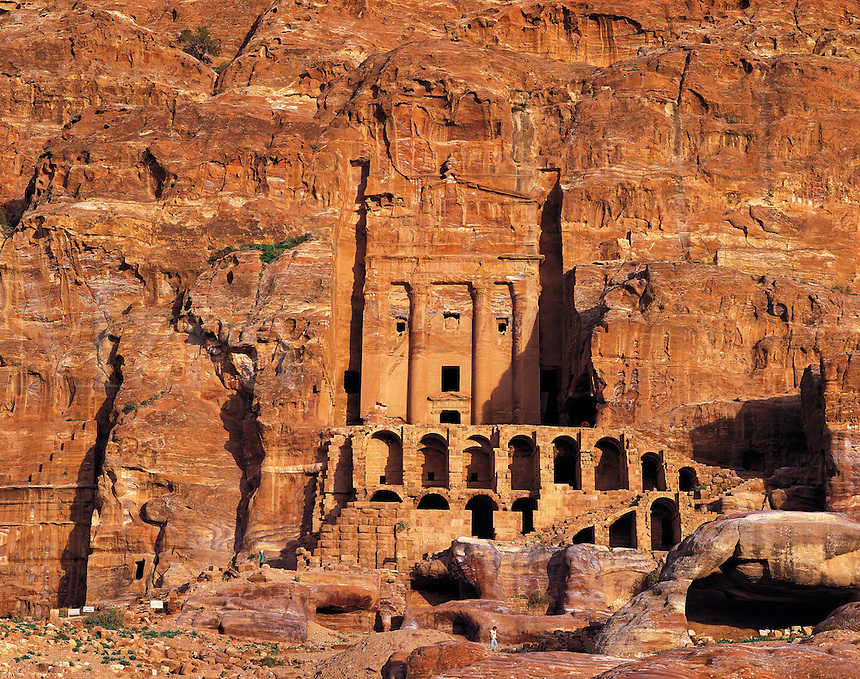 One of the Royal tombs carved into the rock-walls of Petra, Jorda