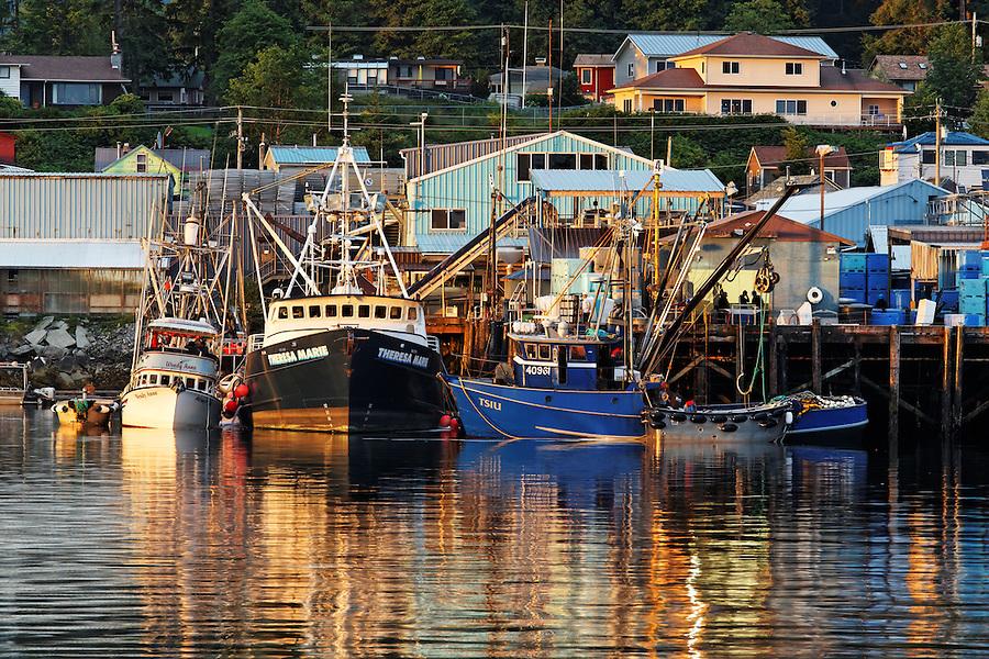 Fishing boats at dock in Sitka Harbor, Alaska, USA