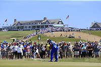 Hideki Matsuyama (JPN) putts on the 8th green during Saturday's Round 3 of the 118th U.S. Open Championship 2018, held at Shinnecock Hills Club, Southampton, New Jersey, USA. 16th June 2018.<br /> Picture: Eoin Clarke | Golffile<br /> <br /> <br /> All photos usage must carry mandatory copyright credit (&copy; Golffile | Eoin Clarke)