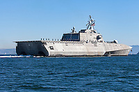 The Independence-class littoral combat ship USS Coronado (LCS-4) on San Francisco Bay. The Independance class is an aluminum trimaran hull that is designed to provide access in coastal waters for missions such as mine warfare, anti-submarine warfare and surface warfare.