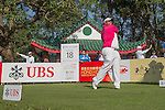 Kiradech Aphibarnrat of Thailand tees off the 18th hole during the 58th UBS Hong Kong Golf Open as part of the European Tour on 09 December 2016, at the Hong Kong Golf Club, Fanling, Hong Kong, China. Photo by Vivek Prakash / Power Sport Images