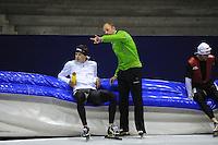 SCHAATSEN: HEERENVEEN: Thialf, 25-06-2012, Zomerijs, TVM schaatsploeg, Sven Kramer, trainer Gerard Kemkers, ©foto Martin de Jong