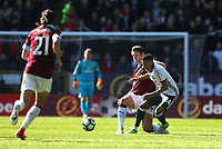 Manchester United's Jesse Lingard is tackled by Burnley's James Tarkowski<br /> <br /> Photographer Stephen White/CameraSport<br /> <br /> The Premier League - Burnley v Manchester United - Sunday 23rd April 2017 - Turf Moor - Burnley<br /> <br /> World Copyright &copy; 2017 CameraSport. All rights reserved. 43 Linden Ave. Countesthorpe. Leicester. England. LE8 5PG - Tel: +44 (0) 116 277 4147 - admin@camerasport.com - www.camerasport.com