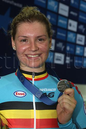 21.10.2016. Saint Quentin-en-Yvelines. Paris. UEC Track Elite European Championship.  PODIUM Keirin Womens silver medal winner<br /> DEGRENDELE Nicky BELGIUM