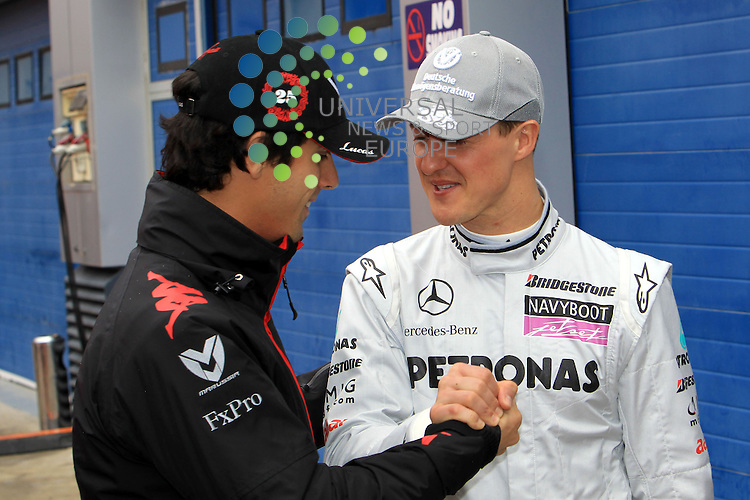 F1 Tests, Jerez Spain  10. - 14. February 2010.Lucas Di Grassi [BRA] Virgin Racing - Michael Schumacher (GER), Mercedes GP ..Picture: Hasan Bratic/Universal News And Sport (Spain) 12/02/2010.