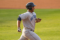 Lake County Captains first baseman Bobby Bradley (44) runs to first base during a Midwest League game against the Wisconsin Timber Rattlers on June 3rd, 2015 at Fox Cities Stadium in Appleton, Wisconsin. Wisconsin defeated Lake County 3-2. (Brad Krause/Four Seam Images)
