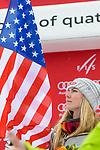 10.03.2018, Ofterschwanger Horn, Ofterschwang, GER, Slalom Weltcup in Ofterschwang, im Bild Siegerehrung mit Mikaela Shiffrin (USA, #4)<br /> <br /> Foto &copy; nordphoto / Hafner