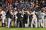 Giants team group,<br /> OCTOBER 5, 2016 - MLB :<br /> San Francisco Giants players celebrate after winning the National League Wild Card Game against the New York Mets at Citi Field in Flushing, New York, United States. (Photo by Hiroaki Yamaguchi/AFLO)