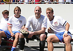 United States' Justin Mapp (l), Kasey Keller (center), and Taylor Twellman (20) start the game on the bench on Sunday, March 25th, 2007 at Raymond James Stadium in Tampa, Florida. The United States Men's National Team defeated Ecuador 3-1 in a men's international friendly.