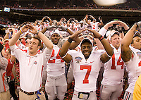 Ohio State players celebrates during 77th Annual Allstate Sugar Bowl Classic at Louisiana Superdome in New Orleans, Louisiana on January 4th, 2011.  Ohio State defeated Arkansas, 31-26.