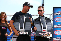 Aug. 31, 2013; Clermont, IN, USA: NHRA top fuel dragster driver Steve Torrence (right) with Bob Vandergriff Jr at the Traxxas Shootout during qualifying for the US Nationals at Lucas Oil Raceway. Mandatory Credit: Mark J. Rebilas-