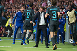Chelsea's coach Antonio Conte, Alvaro Morata and Marcos Alonso celebrating a goal during UEFA Champions League match between Atletico de Madrid and Chelsea at Wanda Metropolitano in Madrid, Spain September 27, 2017. (ALTERPHOTOS/Borja B.Hojas)