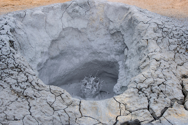 Boiling mud pots in the hot spring area named Hverir, east of Mt. Namafjall near Lake Myvatn in Northeast Iceland.