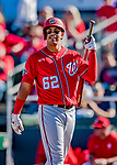29 February 2020: Washington Nationals top prospect infielder Luis Garcia returns to the dugout after his second at-bat of a Spring Training game against the St. Louis Cardinals at Roger Dean Stadium in Jupiter, Florida. The Cardinals defeated the Nationals 6-3 in Grapefruit League play. Mandatory Credit: Ed Wolfstein Photo *** RAW (NEF) Image File Available ***