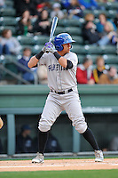 Right fielder Yonathan Daza (2) of the Asheville Tourists bats in a game against the Greenville Drive on Thursday, April 7, 2016, at Fluor Field at the West End in Greenville, South Carolina. Greenville won, 4-3. (Tom Priddy/Four Seam Images)