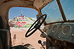 Leonard Knight's Salvation Mountain, near Niland, Calif. frame from the cab of his 1939 White truck.