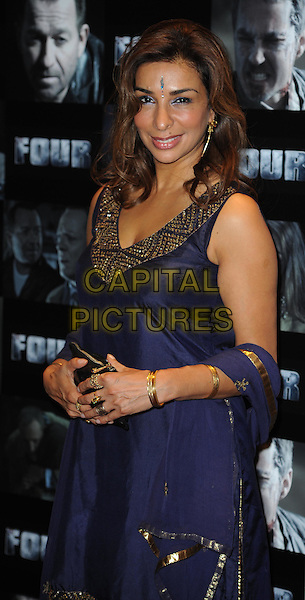Tanya Franks and Shobna Gulati.UK premiere of 'Four' at The Empire Cinema - Arrivals, London, England..October 10th, 2011.half length dress bindi blue purple gold trim.CAP/WIZ.© Wizard/Capital Pictures.