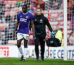 Clayton Donaldson of Sheffield Utd and physio Paul Watson during the Championship match at the Stadium of Light, Sunderland. Picture date 9th September 2017. Picture credit should read: Simon Bellis/Sportimage