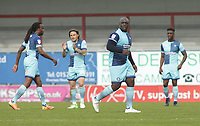 Adebayo Akinfenwa of Wycombe Wanderers after his 88th Minute goal levelled the match at 1-1 during the Sky Bet League 2 match between Morecambe and Wycombe Wanderers at the Globe Arena, Morecambe, England on 29 April 2017. Photo by Stephen Gaunt / PRiME Media Images.