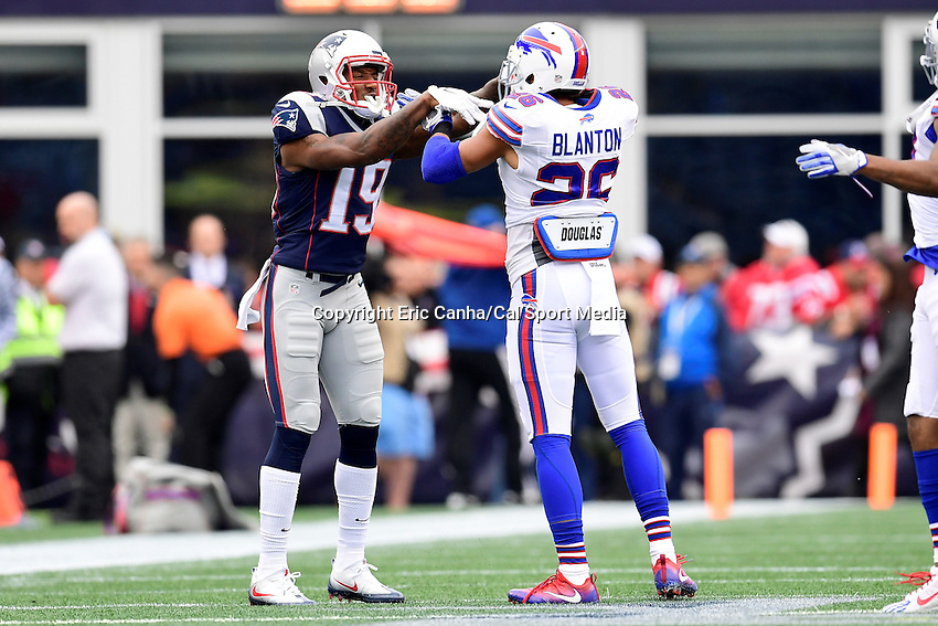 Sunday, October 2, 2016: New England Patriots wide receiver Malcolm Mitchell (19) and Buffalo Bills defensive back Robert Blanton (26) during the NFL game between the Buffalo Bills and the New England Patriots held at Gillette Stadium in Foxborough Massachusetts. Buffalo defeats New England 16-0. Eric Canha/Cal Sport Media