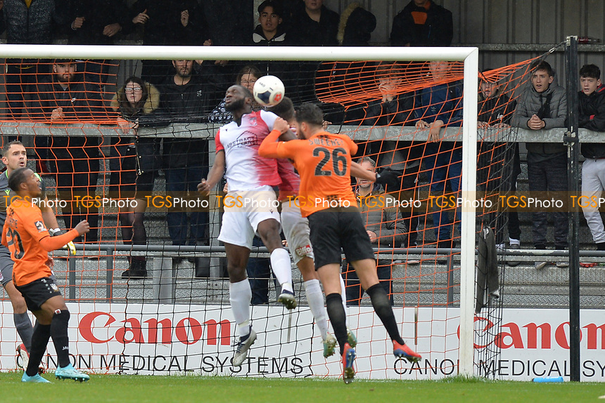 Dan Sweeney of Barnet heads over during Barnet vs Woking, Vanarama National League Football at the Hive Stadium on 12th October 2019