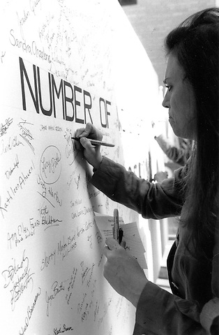 Domestic Violence Memorial Witness to Violence inscribes the names of murdered women at the Statehouse Boston MA 2.14.95