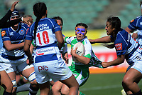 Janna Vaughan is scragged during the Farah Palmer Cup women's rugby match between Manawatu Cyclones and Auckland Storm at CET Stadium in Palmerston North, New Zealand on Sunday, 29 September 2019. Photo: Dave Lintott / lintottphoto.co.nz