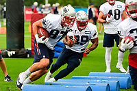 July 27, 2017: New England Patriots tight end Rob Gronkowski (87) and running back LeShun Daniels Jr (39) do a footwork drill at the New England Patriots training camp held on the at Gillette Stadium, in Foxborough, Massachusetts. Eric Canha/CSM