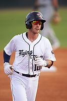 Lakeland Flying Tigers shortstop Casey Frawley (10) rounds the bases after hitting a home run during a game against the Brevard County Manatees on April 20, 2016 at Henley Field in Lakeland, Florida.  Lakeland defeated Brevard County 5-2.  (Mike Janes/Four Seam Images)