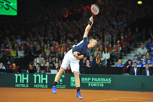 27.11.2015. Belgium. Davis Cup Final, Great Britain versus Belgium. Day 1 play.  Kyle Edmund (GB) as he loses to David Goffin 3-6 1-6 6-2 6-1 6-0 to make the tie 1-0 to Belgium