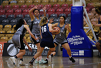 Action from the 2017 AA Girls' Secondary Schools Basketball Premiership National Championship match between Hutt Valley High School (grey) and St Hilda's Collegiate (navy) at the B&M Centre in Palmerston North, New Zealand on Monday, 2 October 2017. Photo: Dave Lintott / lintottphoto.co.nz
