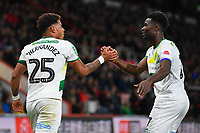 Onel Hernandez of Norwich City is congratulated after scoring by Alexander Tettey of Norwich City during AFC Bournemouth vs Norwich City, Caraboa Cup Football at the Vitality Stadium on 30th October 2018