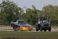 Apr. 26, 2013; Baytown, TX, USA: NHRA top alcohol funny car driver Bryan Brown during qualifying for the Spring Nationals at Royal Purple Raceway. Mandatory Credit: Mark J. Rebilas-