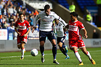 Bolton Wanderers' Gary Madine under pressure from Middlesbrough's Fabio<br /> <br /> Photographer Juel Miah/CameraSport<br /> <br /> The EFL Sky Bet Championship - Bolton Wanderers v Middlesbrough - Saturday 9th September 2017 - Macron Stadium - Bolton<br /> <br /> World Copyright &copy; 2017 CameraSport. All rights reserved. 43 Linden Ave. Countesthorpe. Leicester. England. LE8 5PG - Tel: +44 (0) 116 277 4147 - admin@camerasport.com - www.camerasport.com