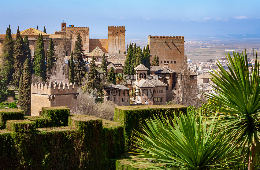Spanien, Andalusien, Granada: Blick vom Generalife zur Alhambra   Spain, Andalusia, Granada: view from Generalife at Alhambra