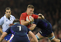 Wales' Gareth Anscombe looks for a way through<br /> <br /> Photographer Ian Cook/CameraSport<br /> <br /> Under Armour Series Autumn Internationals - Wales v Scotland - Saturday 3rd November 2018 - Principality Stadium - Cardiff<br /> <br /> World Copyright © 2018 CameraSport. All rights reserved. 43 Linden Ave. Countesthorpe. Leicester. England. LE8 5PG - Tel: +44 (0) 116 277 4147 - admin@camerasport.com - www.camerasport.com