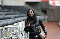 Wednesday, 23 April 2014<br /> Pictured: Marvin Emnes arriving.<br /> Re: Swansea City FC are holding an open training session for their supporters at the Liberty Stadium, south Wales,