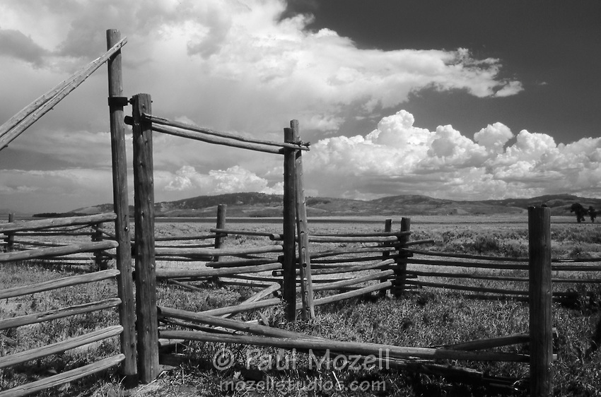 Old fences on an old ranch near Jackson Hole Wyoming and the Grand Tetons