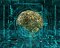 Gold brain at the centre of complex digital technology cyberspace