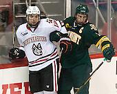 Zach Aston-Reese (NU - 12), Mike Paliotta (UVM - 2) - The visiting University of Vermont Catamounts defeated the Northeastern University Huskies 6-2 on Saturday, October 11, 2014, at Matthews Arena in Boston, Massachusetts.