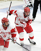 Kayla Tutino (BU - 8), Jenn Wakefield (BU - 9) - The Boston University Terriers defeated the visiting University of Connecticut Huskies 4-2 on Saturday, November 19, 2011, at Walter Brown Arena in Boston, Massachusetts.