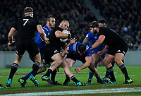NZ's Owen Franks takes the ball up during the Steinlager Series international rugby match between the New Zealand All Blacks and France at Eden Park in Auckland, New Zealand on Saturday, 9 June 2018. Photo: Dave Lintott / lintottphoto.co.nz