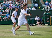 England, London, 28.06.2014. Tennis, Wimbledon, AELTC, Gentlemen's invitational doubles, Paul Haarhuis (NED) and his partner Jacco Eltingh (NED)(R)<br /> Photo: Tennisimages/Henk Koster