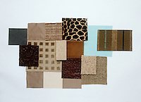 A collection of fabric swatches illustrating the colour range from camel to mole