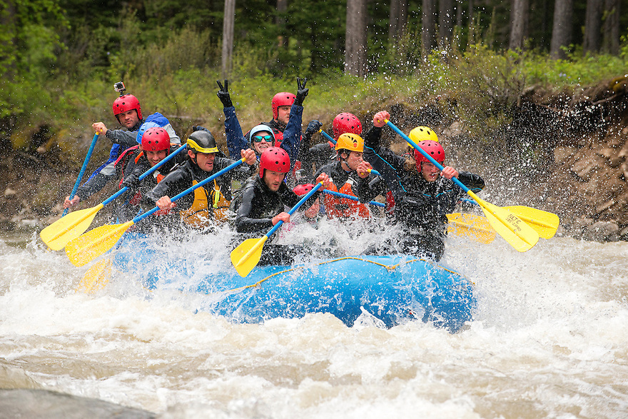 Whitewater rafters take on the Mad Mile on the Gallatin River downstream of Big Sky, Montana.